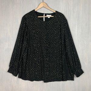 Ava & Viv star print pleated blouse top black 2x